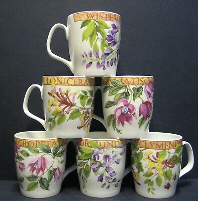 6 A Set Of Six Data Chain Flower Regal Shape Fine Bone China Mugs Cups To Clear • 16.95£