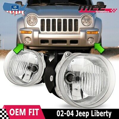 $48.79 • Buy Fits 02-04 Jeep Liberty Clear Lens PAIR Bumper Fog Light Lamps OE Replacement