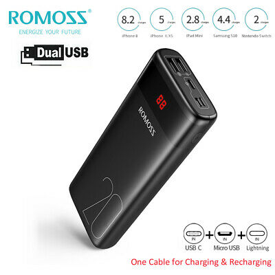 AU29.99 • Buy ROMOSS 20000mAh Power Bank Dual USB Portable Battery Charger For IPhone Samsung