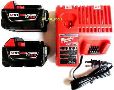 $137.97 • Buy 2) GENUINE M18 Milwaukee 48-11-1828 3.0 Batteries, 1) 48-59-1812 Charger 18 Volt