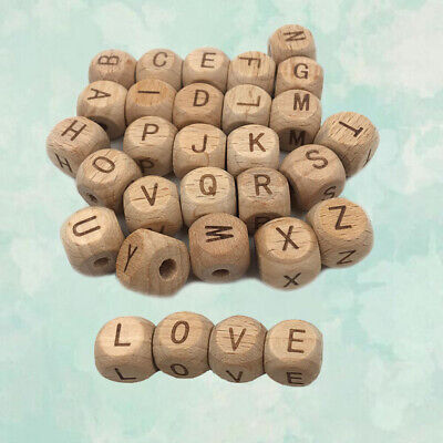 £2.27 • Buy Beech Wooden Toy Letter Beads Cube Alphabet DIY Teething PC 12mm Baby5 Natural