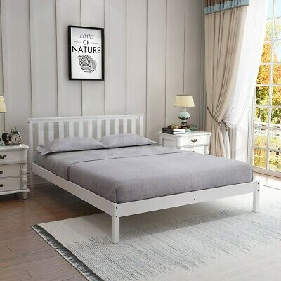 AU179.95 • Buy Wooden Bed Frame Queen Size Mattress Base Pine Platform Bedroom Furniture WH