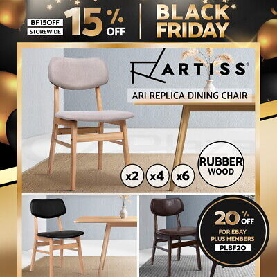 AU219.95 • Buy Artiss Dining Chairs Retro Replica Kitchen Cafe Chair Rubber Wood Fabric X2x4x6