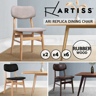 AU109.95 • Buy Artiss Dining Chairs Retro Replica Kitchen Cafe Chair Rubber Wood Fabric X2x4x6
