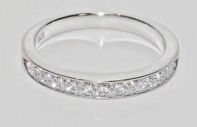 Sterling Silver 0.33ct Half Eternity Wedding Ring - Fine Quality • 15.95£