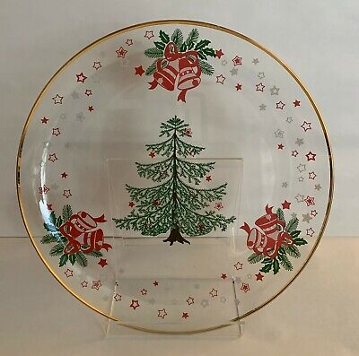 $ CDN10.62 • Buy Vintage Christmas Painted Tree Holly Stars & Bells 12  Round Serving Plate Gold