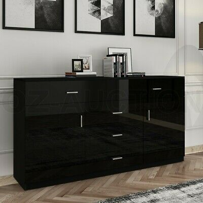 AU239.95 • Buy Gloss 5 Chest Of Drawers 2 Doors Tallboy Dresser Table Storage Bedroom Cabinet