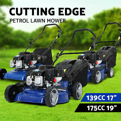 AU309 • Buy Lawn Mower Petrol Powered Push Lawnmower 4 Stroke Catch 175cc 139cc 19'' 17''
