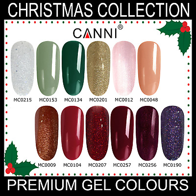 Christmas Nail Gel Polish CANNI UV LED Set Colour Varnish Glitter Coat 7.3ml • 3.95£