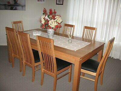 AU1700 • Buy 8 Seater Dining Table And Chairs In Tasmanian Oak 2.1mx1.1m Clear Stain Finish .