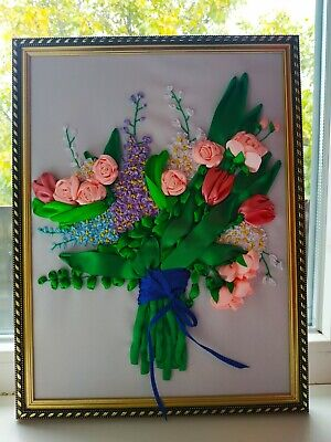 Bouquet, Picture, Embroidery, Satin Ribbons, Handmade, Decorator For Home • 12.87£