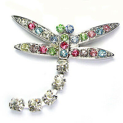 £29.35 • Buy RAINBOW DRAGONFLY Made With Swarovski Crystal Insect Pin Brooch Jewelry Xmas New