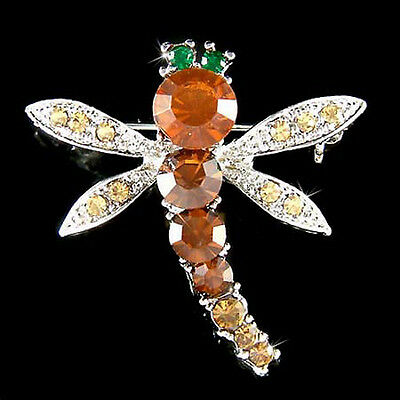 £31.55 • Buy Brown DRAGONFLY Made With Swarovski Crystal Nature Bug Insect Pin Brooch Jewelry