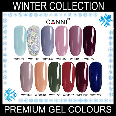 Winter Nail Gel Polish CANNI UV LED Set Colour Varnish Glitter Base Coat 7.3ml • 3.95£