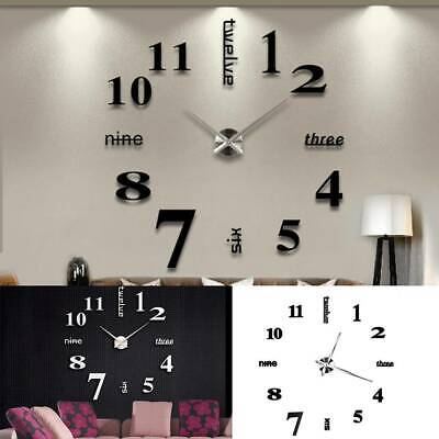 DIY 3D Frameless Number Wall Clock Mirror Sticker Home Office Room Unique Decor • 7.99£