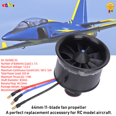 £29.38 • Buy EDF 64mm 11-Blade Fan Propeller Brushless RC Model Aircraft Accessories