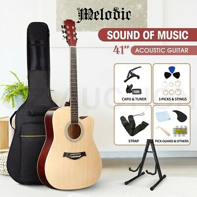 AU99.95 • Buy Melodic 41  Acoustic Guitar Classical 6 Steel String Natural W/Bag Capo Tuner