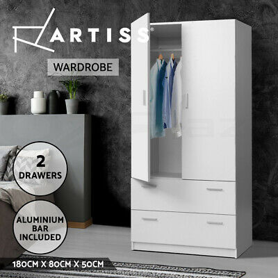 AU268.90 • Buy Artiss 2 Doors Wardrobe Bedroom Closet Storage Cabinet Organiser Amoire 180cm