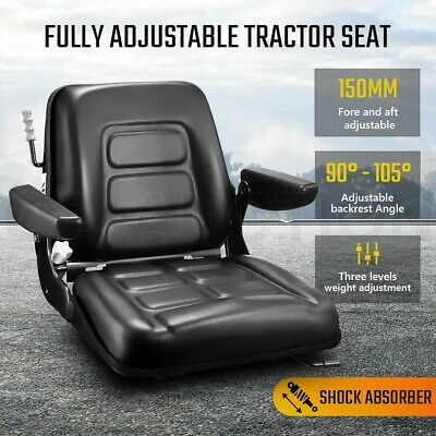 AU179.95 • Buy Tractor Seat PU Leather Forklift Excavator Truck Backrest Chair Adjustable Lock