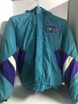 Vintage Starter Charlotte Hornets NBA Zip Up/Button Up Jacket With Hood Size XL • 48.99$