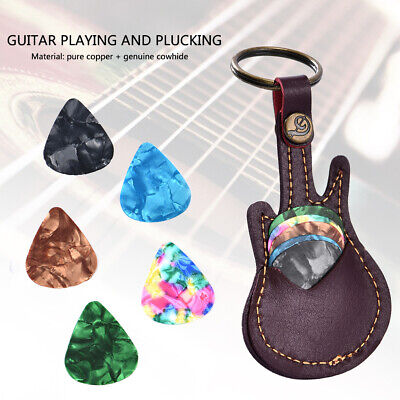 $ CDN3.35 • Buy Genuine Leather Keychain Guitar Pick Holder Plectrum Bag Black Case + 5 Picks WL