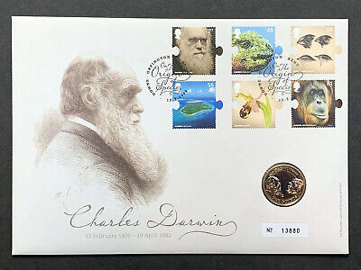 £39 • Buy Charles Darwin 2009 £2.00 Two Pound Coin Royal Mint Cover -pnc-fdc