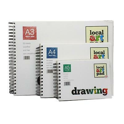 Drawing Sketching Paper Pads Local Art Pad 190gsm A3 A4 A5 Spiral Bound • 15.60£