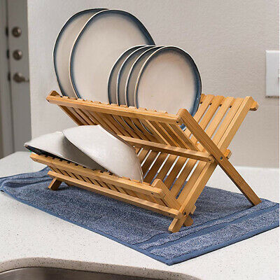 £13.99 • Buy Bamboo Foldable Kitchen Sink Dish Drainer Folding Wooden Bowl Cups Drying Rack
