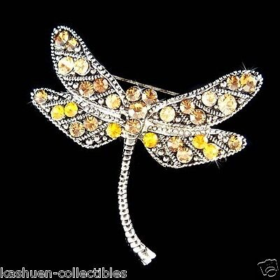 £31.55 • Buy Brown Dragonfly Made With Swarovski Crystal Topaz Antique Style Pin Brooch Gift