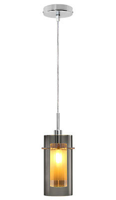 $ CDN34.46 • Buy Vintage Smoked Glass Shade Hanging Pendant Ceiling Home Pub Diner Light M0116