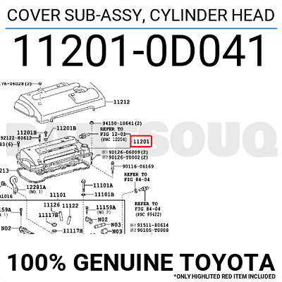 $119.28 • Buy 112010D041 Genuine Toyota COVER SUB-ASSY, CYLINDER HEAD 11201-0D041