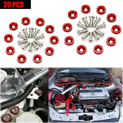 $14.99 • Buy 20 Pcs Red Billet Aluminum Fender/bumper Washer/bolt Engine Bay Dress Up