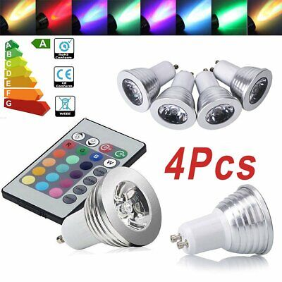 4/8/12 X GU10 16 Color Changing RGB Dimmable LED Light Bulbs Lamp RC Remote Spot • 12.99£