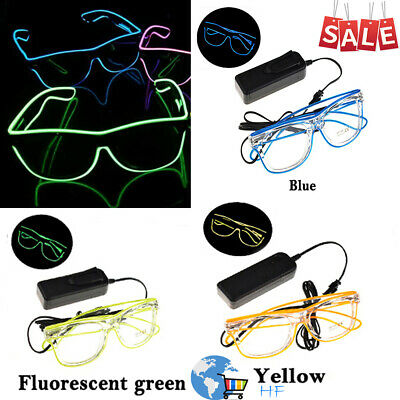 EL Wire Glasses LED Eyeglass Neon Light Up Multicolor Club Party Christmas Decor • 1.97£