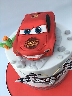 Lighting McQueen Disney Cars Edible Birthday Cake Topper (car,plague, 2 Flags) • 34.99£