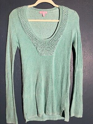 Lilly Pulitzer Small Women's  Roberta Tunic Teal Viscose Wool Sweater Pullover • 16.99$