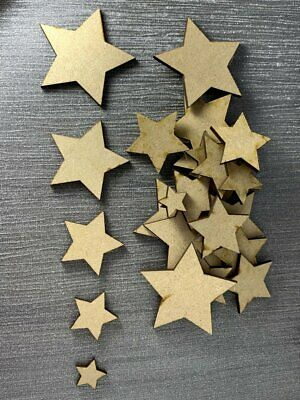 Wooden MDF Star Christmas Shapes Craft Blank Plaque Card Making Scrapbook • 1.49£