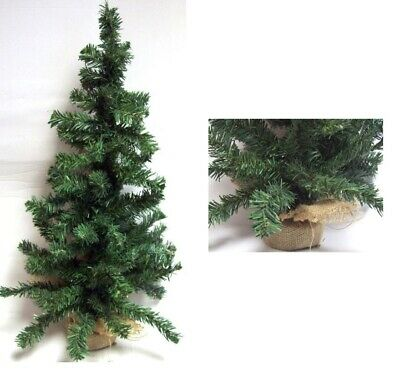 Mini Table Top Centerpiece Artificial Christmas Tree With Hessian Base - 45CM • 5.99£