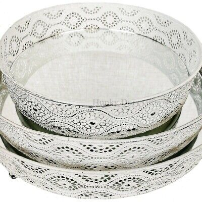 £24.95 • Buy 3 Mirror Glass Decorative Vintage White Metal Plate Candle Perfume Display Trays