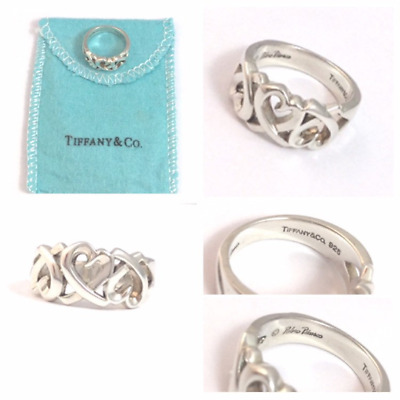 Authentic  Tiffany & Co PALOMA PICASSO Triple Loving Heart Ring Size J 1/2 • 110.99£