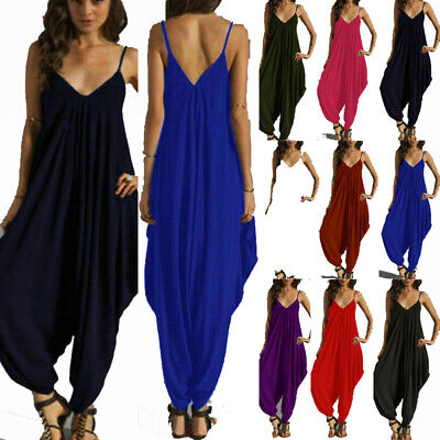 Womens Ladies Cami Jumpsuit Playsuit Harem Baggy Plain Long Ankle Plus Size  • 10.99£