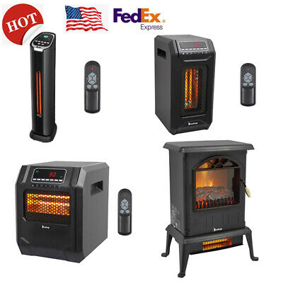 $65.99 • Buy 1500W Infrared Space Heater Electric Fireplace Quartz LED Safe Fire Stove Remote