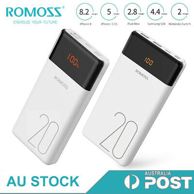 AU29.99 • Buy Romoss 20000mAh Power Bank Dual USB 2.1A Fast Portable Battery Charger For Phone