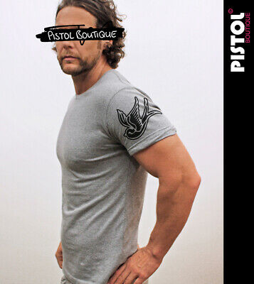 £19.99 • Buy Pistol Boutique Men's Fitted Grey Crew Rolled Sleeve TATTOO SWALLOWS T-shirt