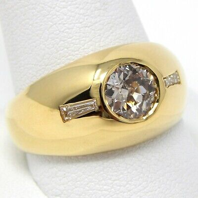 $2610 • Buy 18 Kt Yellow Gold 8 Mm DIAMOND GYPSY STYLE Ring Size 11 1/2 A7528