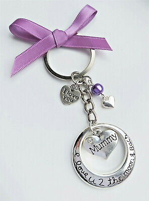 I Love You To The Moon And Back Keyring Mummy Heart Mothers Day Gift Keyring • 3.45£