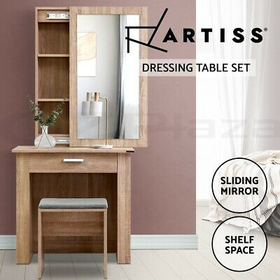 AU149.95 • Buy Artiss Dressing Table With Mirror Sliding Stool Mirrors Makeup Table Chairs Set
