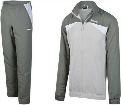 Reebok Men's Woven Tracksuit Fully Lined Shell Track Suit Training Sport Grey S • 24.99£