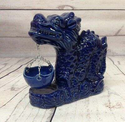 $7.99 • Buy Dragon Figurine With Pot Ceramic Incense Hollow Core Blue Glazed 6''X5.5'' Tall
