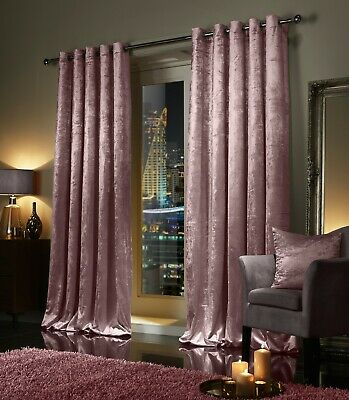 Blush Pink Crushed Velvet Curtains PAIR Ring Top Eyelet OR Pencil Pleat Tape Top • 31.66£